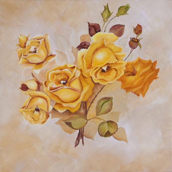 Les roses jaunes est une peinture à l'huile dans des camailleux de jaunes