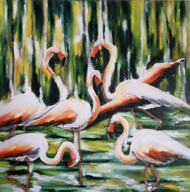 les flamants roses sont peints à la peinture à l'huile