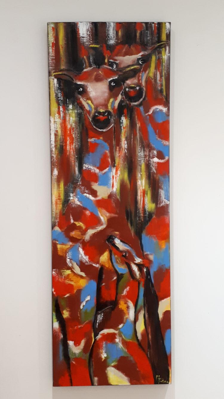 Tableau complet représentant deux girafes aux couleurs abstraites