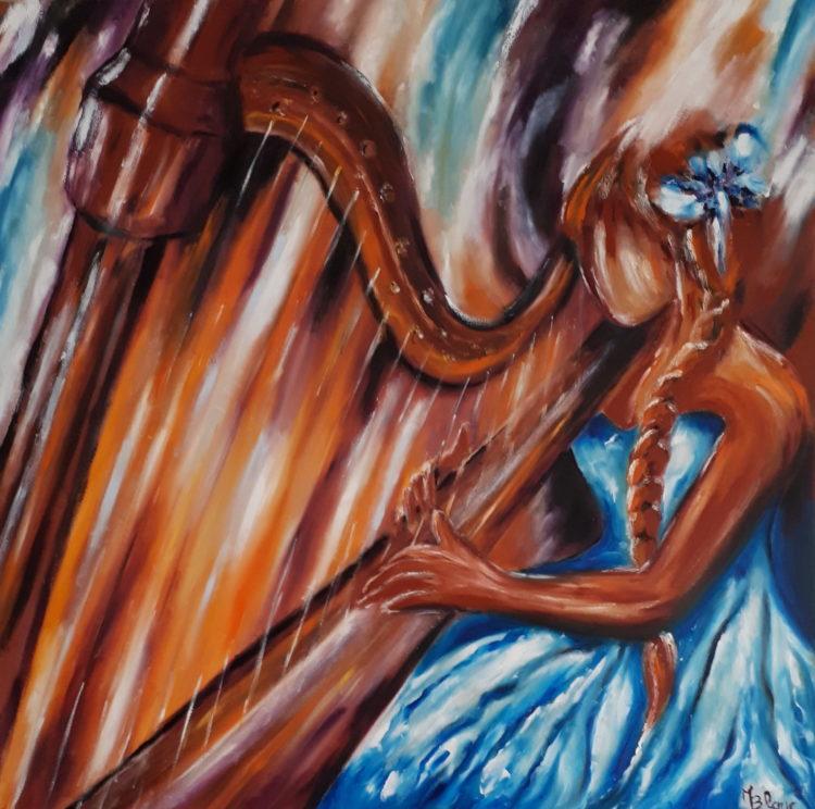 la harpiste, tableau peint à l'huile aux tons chalereux