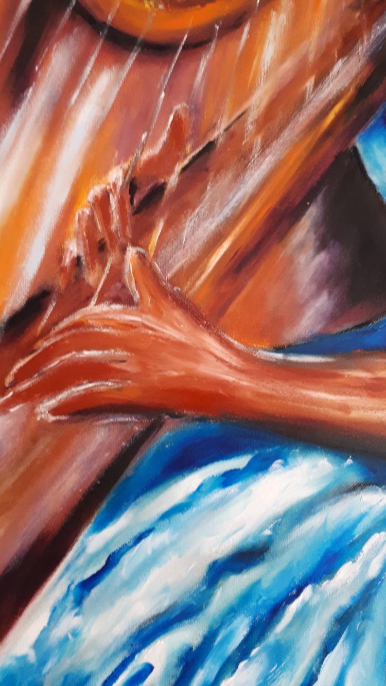Détails sur les mains de la harpiste, peinture à l'huile sur toile