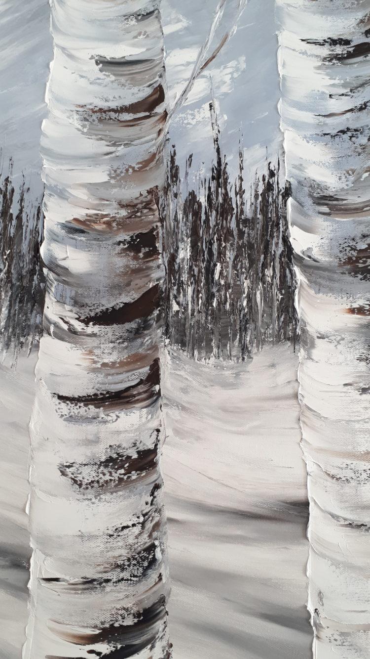 Une vue de détails sur Les bouleaux enneigés, pour mieux apprécier les contrastes et coups de couteaux sur les troncs et la végétation