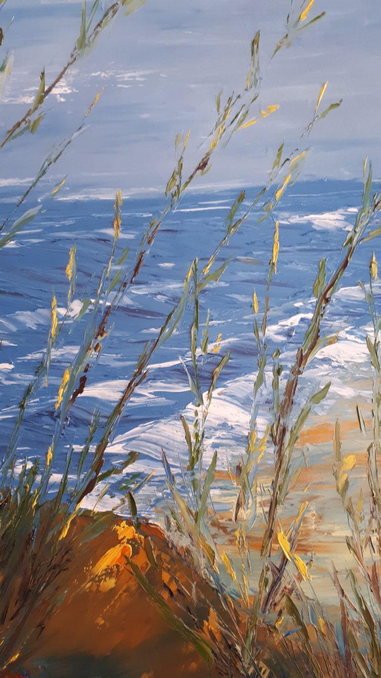 """Vue de détails, sur les herbes du tableau """"Un autre jour à la mer"""""""