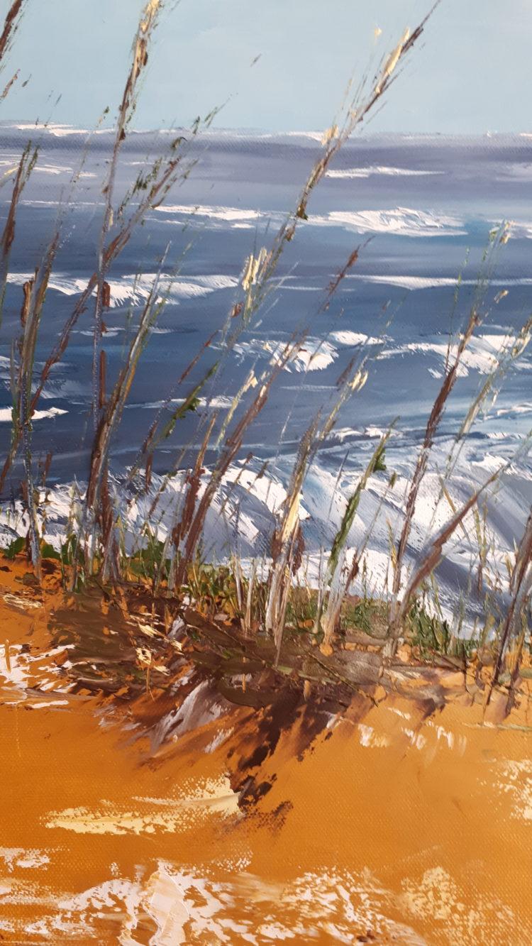 """Détails de la végétation du tableau """"A la mer un jour de vent"""" Contraste de couleurs entre le sable chaud et la mer agitée"""