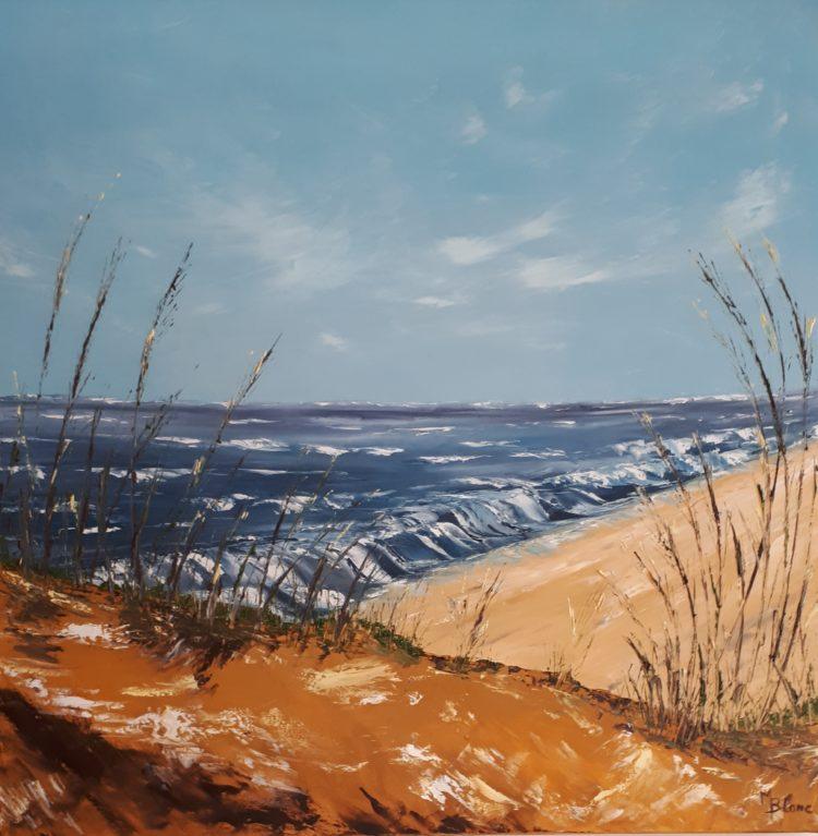 """Miniature du tabeau """"A la mer un jour de vent"""" réalisé à la peinture à l'huile et au couteau"""