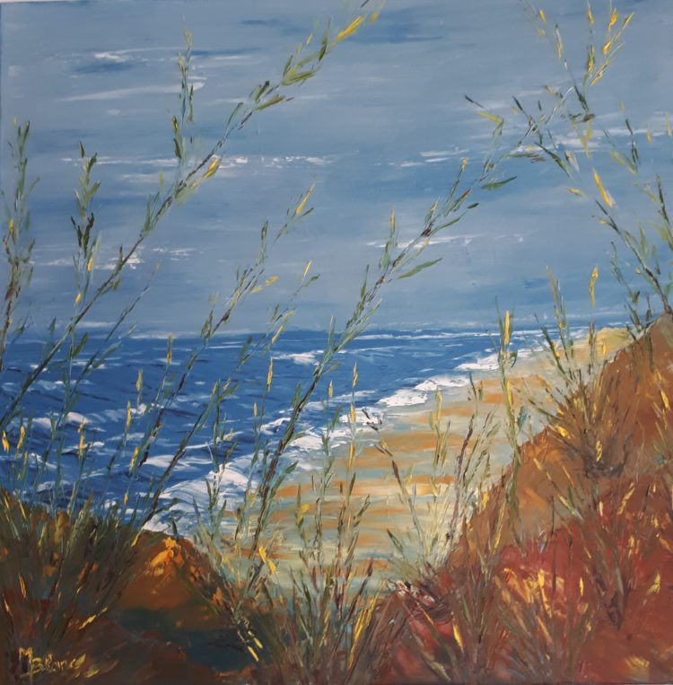"""Tableau """"Un autre jour à la mer"""" peint à l'huile et aux couteaux"""