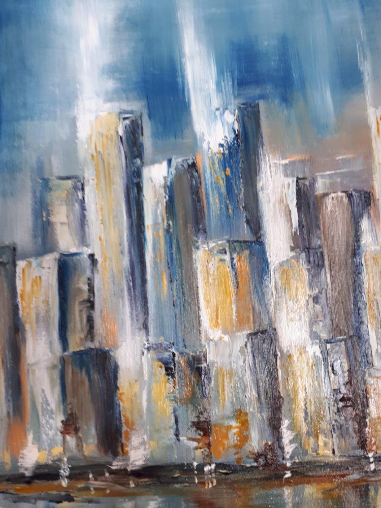 Vue de détails abstraits du quartier de Manhattan, dans des tons bleus et dorés.