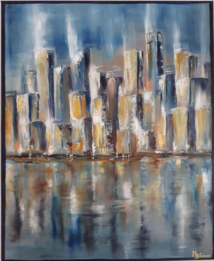 Vue recentrée du tableau représentant Manhattan, le célèvre quartier de New York