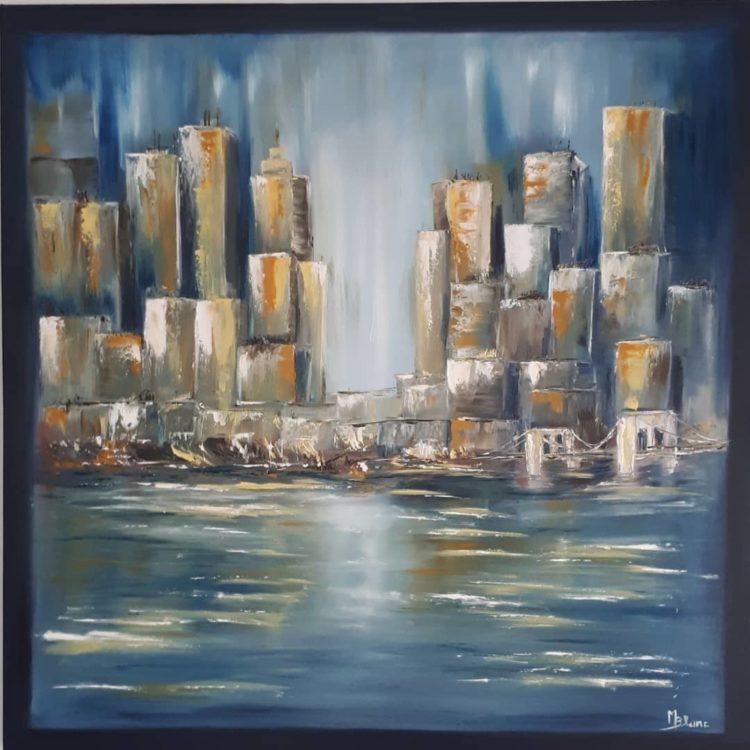"""Tableau """"Manhattan 2"""" possédant un cadre peint"""