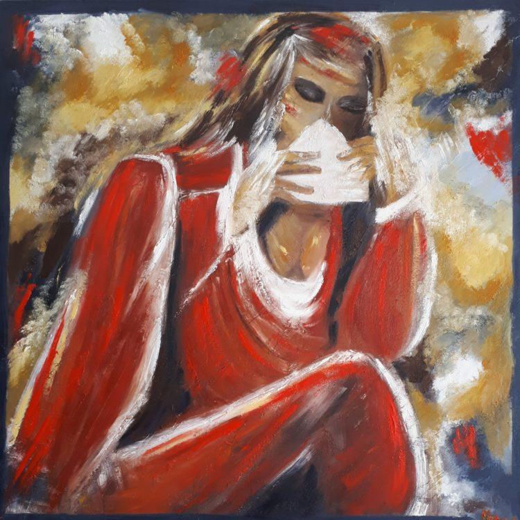 """Tableau """"la lettre"""" réalisé à la peinture à l'huile par Marianne Blanc"""